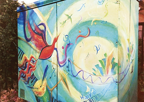 カシミアハイスクールの前にある『The world peace』